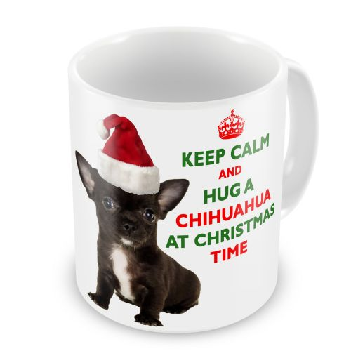 Christmas Keep Calm And Hug A Chihuahua (Black) Novelty Gift Mug